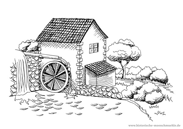 Ausmalbild Wassermühle by Historische Mönchmühle